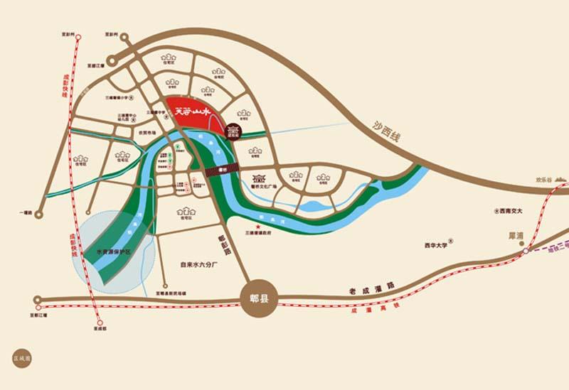 芙蓉山水浣溪交通图