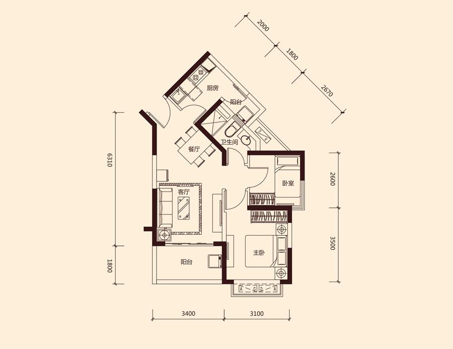 恒大中央广场_2室2厅1卫1厨