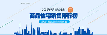 宣城7月排行榜:贝林阳江港湾59套夺冠