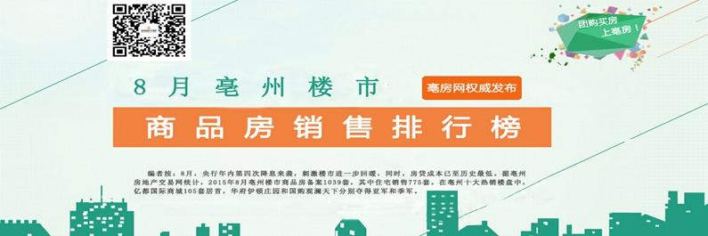 专题:8月亳州楼市商品房销售排行榜前十