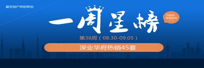 第36周一周星榜:深业华府热销45套实现三连冠