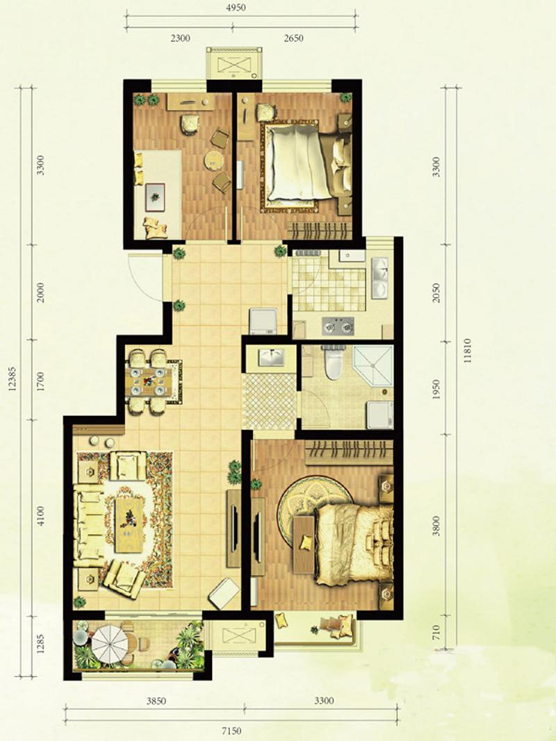 中国铁建•国际花园_3室2厅1卫1厨