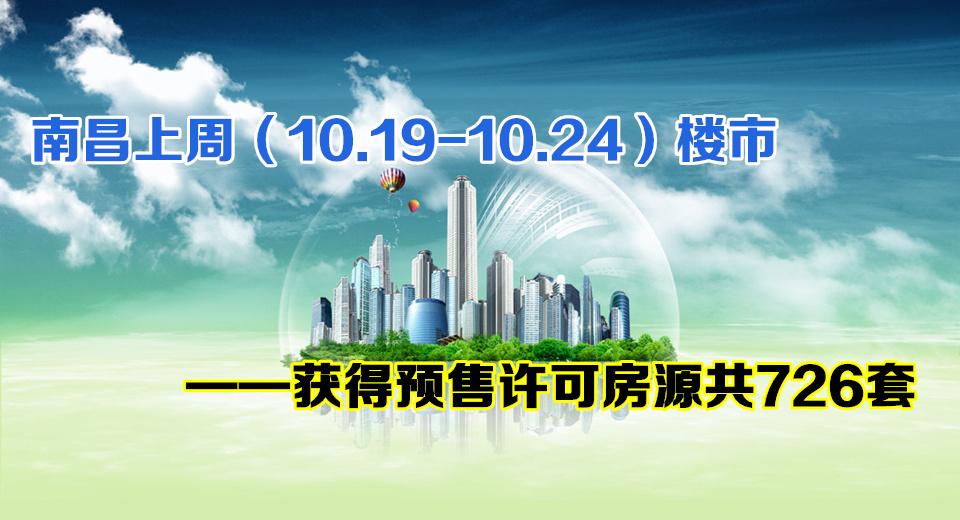 南昌楼市10.19-10.23获得预售许可房源726套