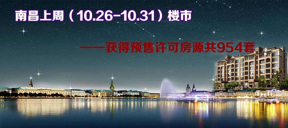 南昌楼市10.26-10.30获得预售许可房源954套