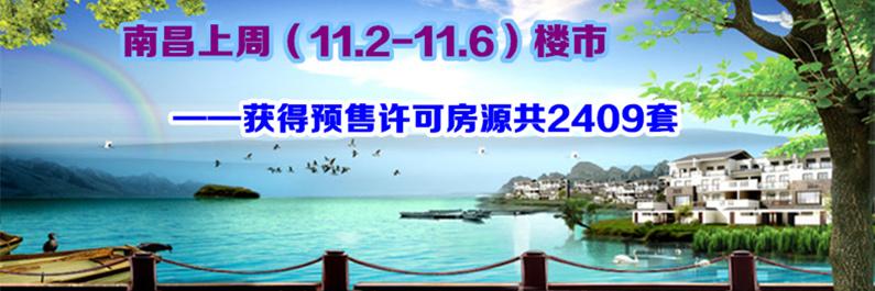 南昌楼市11.2-11.6获得预售许可房源2409套