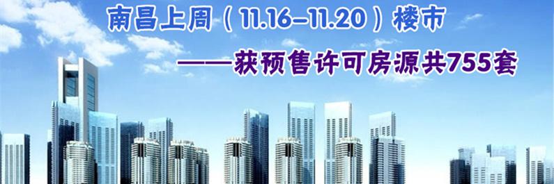 南昌上周(11.16-11.20)获得预售许可房源755套