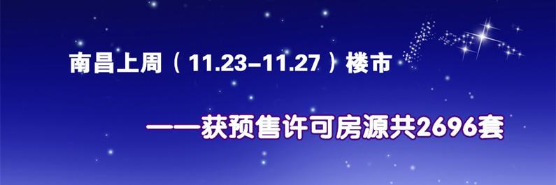南昌楼市11.23-11.27获得预售许可房源2696套
