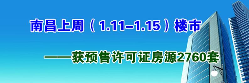 南昌1.11-1.15获预售许可房源2760套