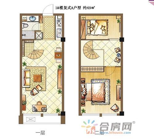 西南欢乐城1#楼49㎡户型图