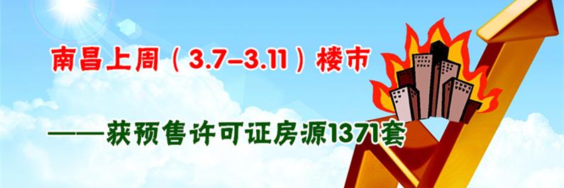 南昌3.7-3.11获预售许可房源1371套