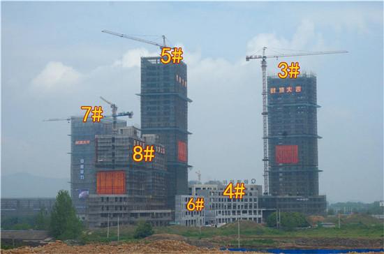 银通国际广场4月工程进度:一期全部封顶