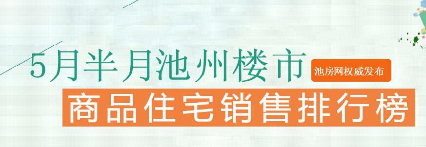 池州楼市5月半月销量top10 香江华庭夺榜首