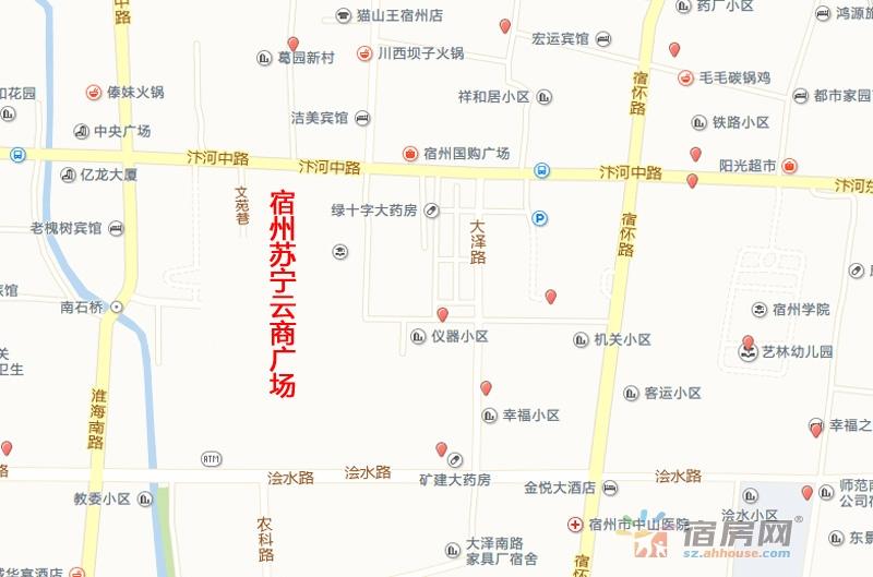 宿州苏宁云商广场交通图