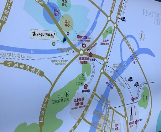 新江北孔雀城交通图