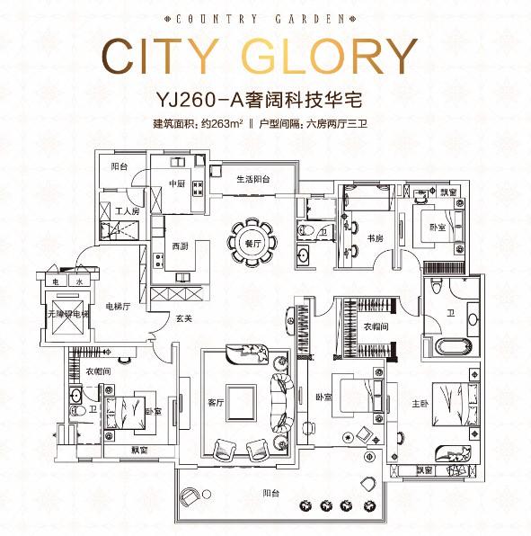 碧桂园·城市之光_6室2厅3卫0厨