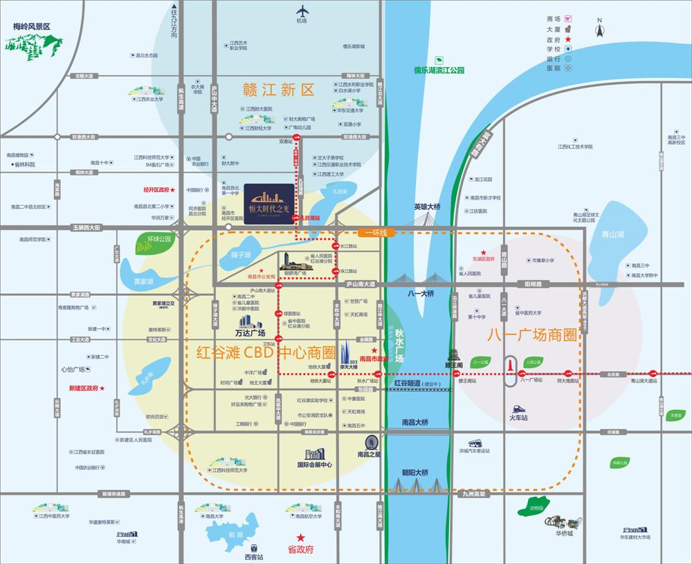 南昌恒大时代之光交通图
