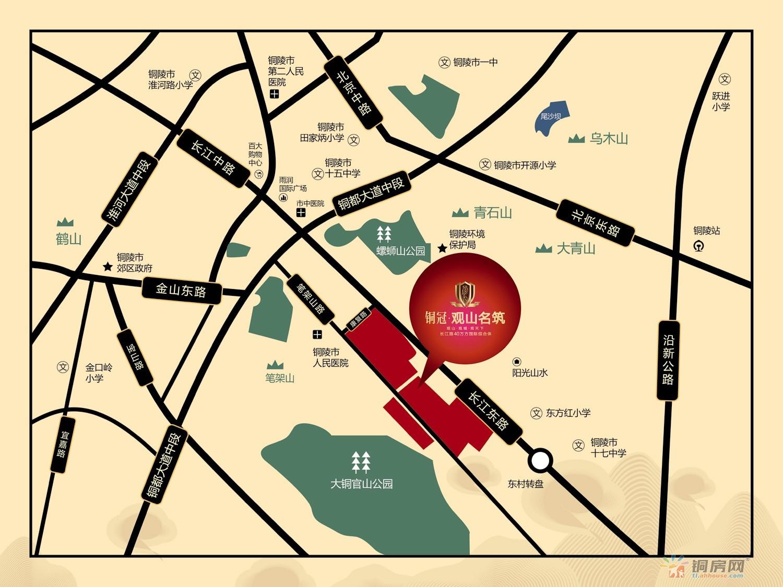 铜冠观山名筑交通图