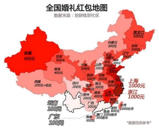 婚礼红包地图:上海人均上千 广东云南仅百元