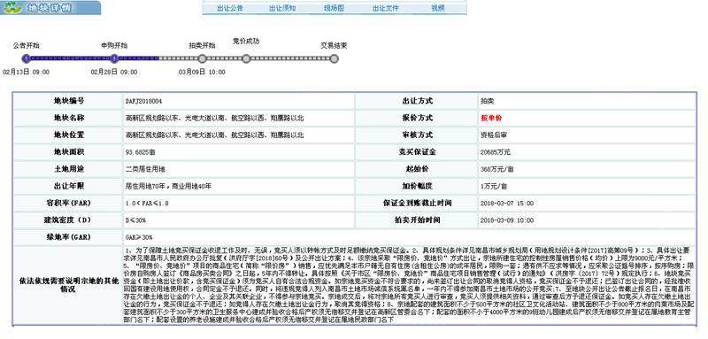 南昌3月正在公告土地15宗 2宗住宅地