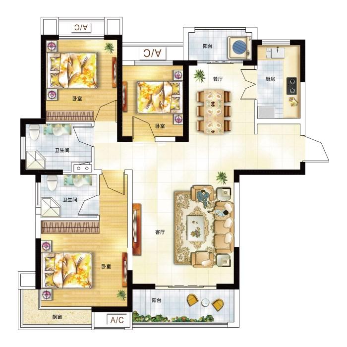 池州铜冠花园_3室2厅2卫1厨