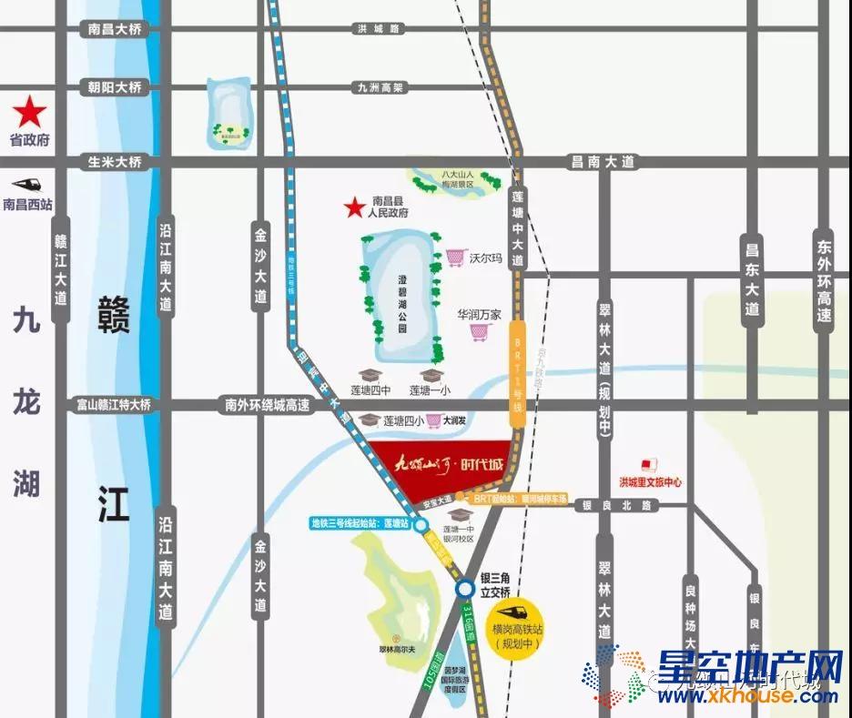 九颂山河·时代城交通图