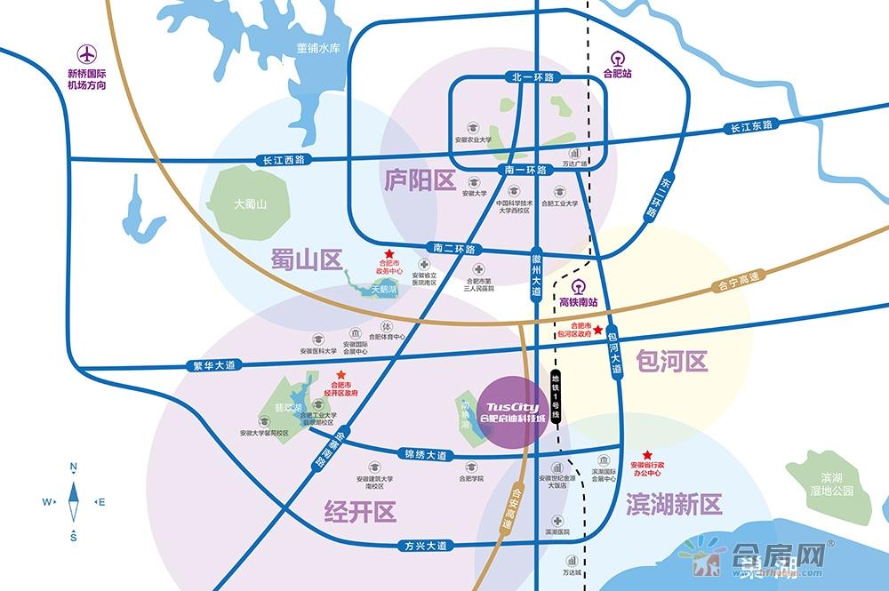 合肥启迪科技城水木园交通图