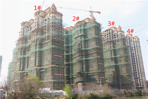 龙湖湾二期3月工程进度:5#楼外墙已粉刷过半