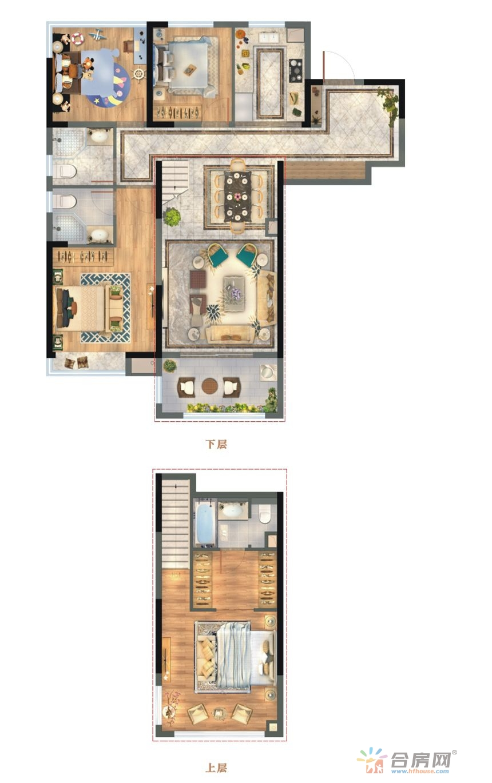 两室朝南,光线充足;主卧套房,保障业主私密生活;上下跃层,生活多一种幸福。