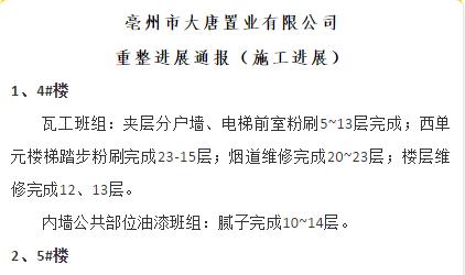 工程进度|大唐国际城5.10至5.17日重整进展