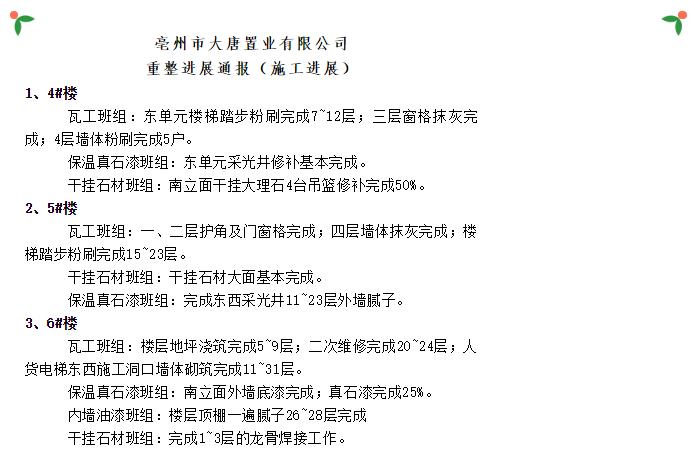 亳州大唐置业6.7到6.13重整进展通报