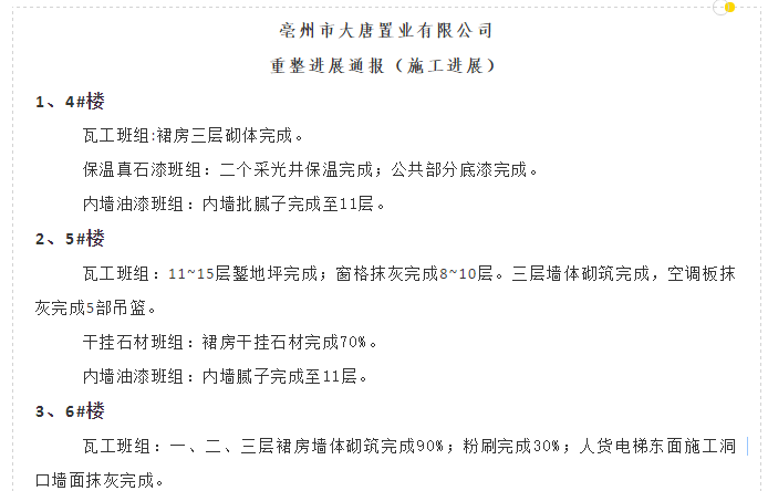 亳州大唐6月28日到7月11日重整进展通报