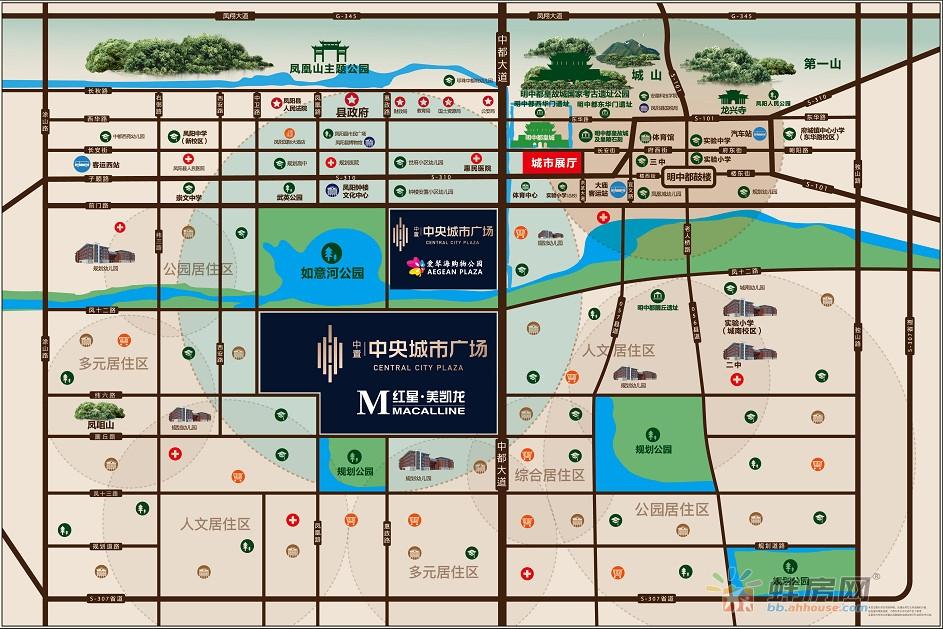 中置中央城市广场交通图