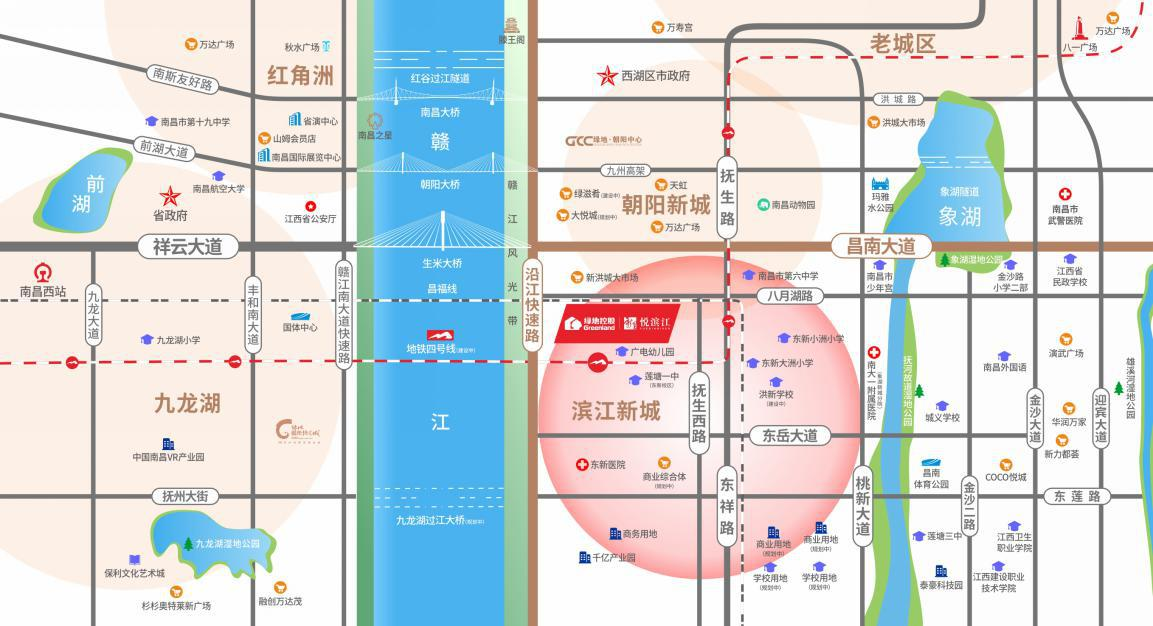 绿地悦滨江交通图