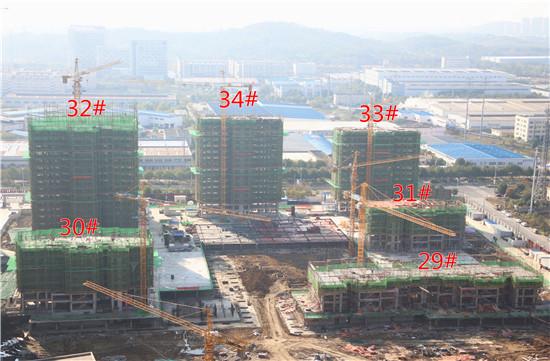 新里城12月工程进度:六期34#已建至16层左右