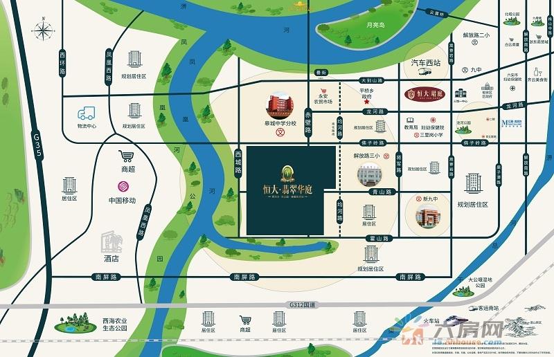 六安恒大翡翠华庭交通图