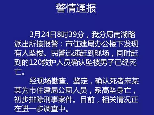 蚌埠市住建局一公职人员在办公楼坠亡
