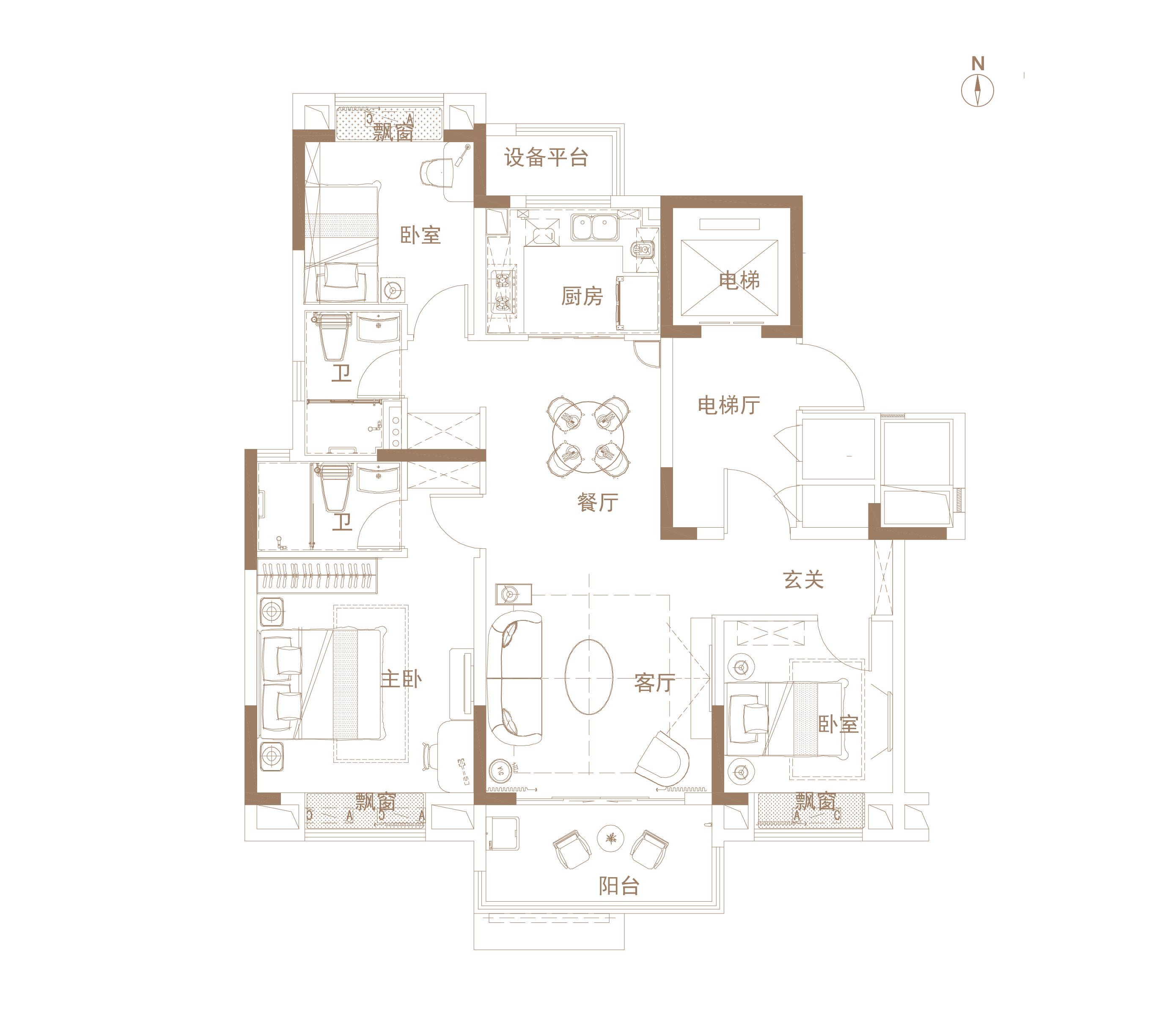 ①三房两厅两卫设计,户型方正,南北通透。②约3.8米的大开间,户型方正,多室朝南,三世同堂皆圆满。③屋内配备飘窗,保证空间采光的同时,营造出宽阔的视野效果。