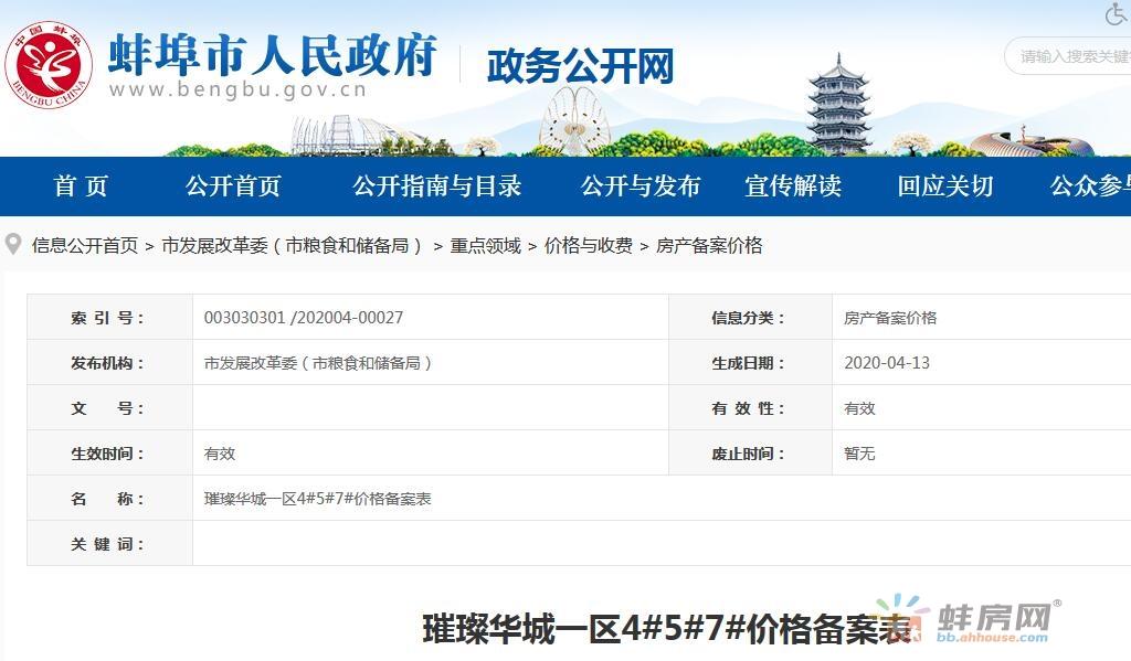 蚌埠3盘合计381套房新增价格备案