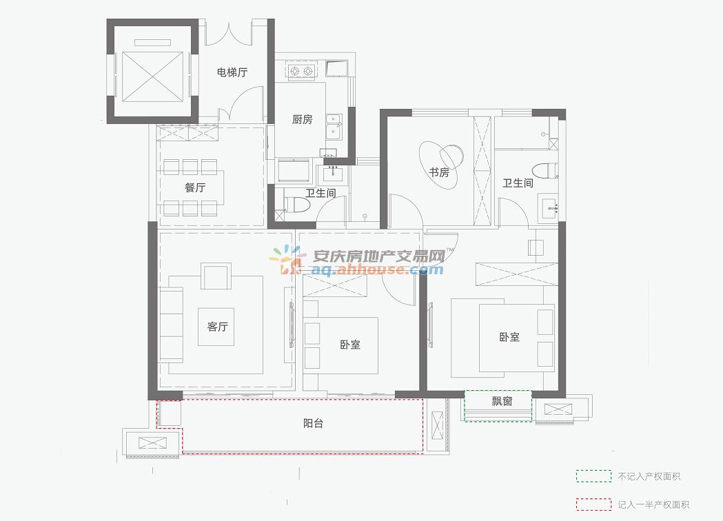 三室两厅两卫118平米B1户型 3/4
