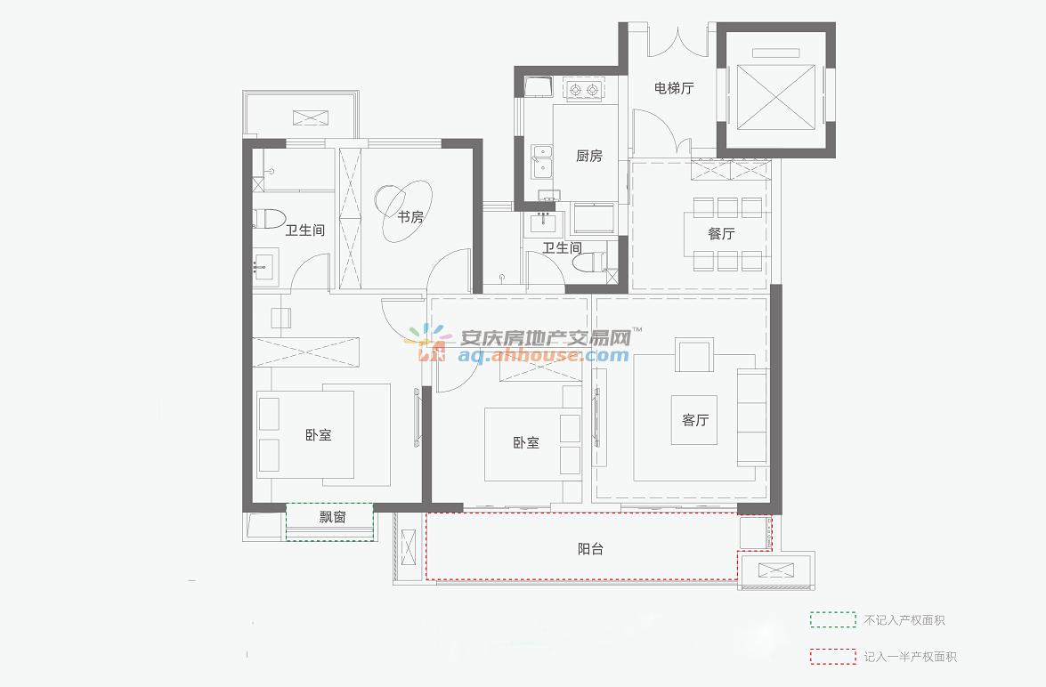 三室两厅两卫118平米B2户型 2/4