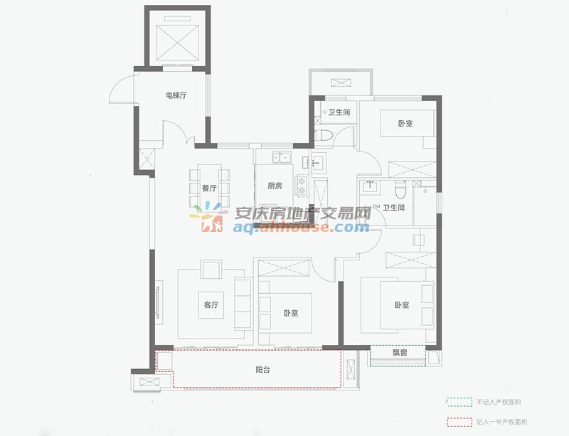 三室两厅两卫130平米C户型 1/4